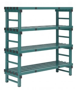 Hygienic plastic racking -Single bay 4 shelf