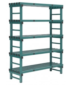 Hygienic plastic racking -Single bay 5 shelf