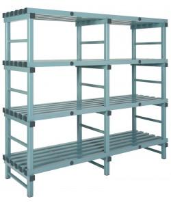 Hygienic plastic racking 4 shelf double bay