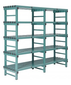 Hygienic plastic racking 5 shelf double bay