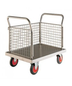 Stainless Steel Platform Truck - 3 Sided Mesh - SP603M