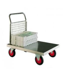 Chariot plateforme en acier inoxydable avec un panneau en treillis simple d'un côté.