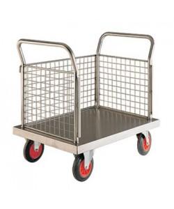 Edelstahl-Plattformwagen mit drei Gitterwänden