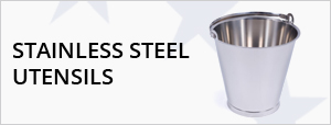Stainless Steel Utensils - Shovels, Buckets, Scoops & Jugs, Sieves & Pedal Bins