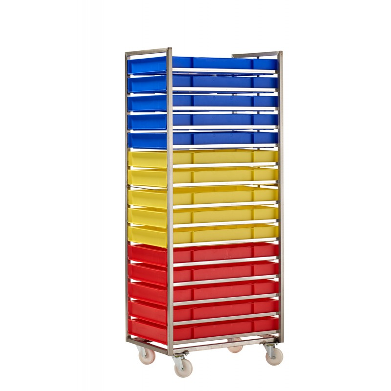 RM15SS Bakery Trolley with coloured confectionery trays