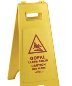 Caution Wet Floor Sign Welsh - 8614WEL