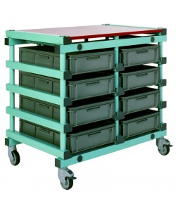 Plastic Double Bay Mobile Tray Rack