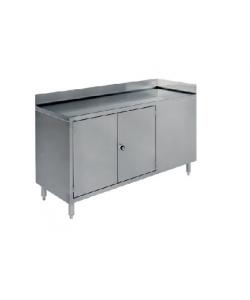 Grand poste de travail en acier inoxydable avec armoire