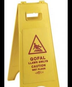 Caution Wet Floor Sign Welsh - 8614WEL
