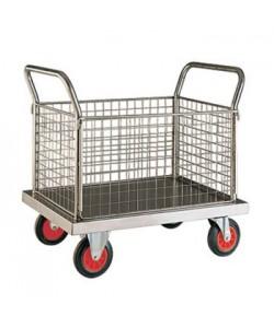 Chariot à plateforme en acier inoxydable avec quatre panneaux en treillis