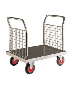 Edelstahl-Plattformwagen mit Doppel-Gitterwand